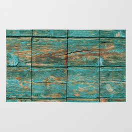 Rustic Teal Boards (Color) Rug