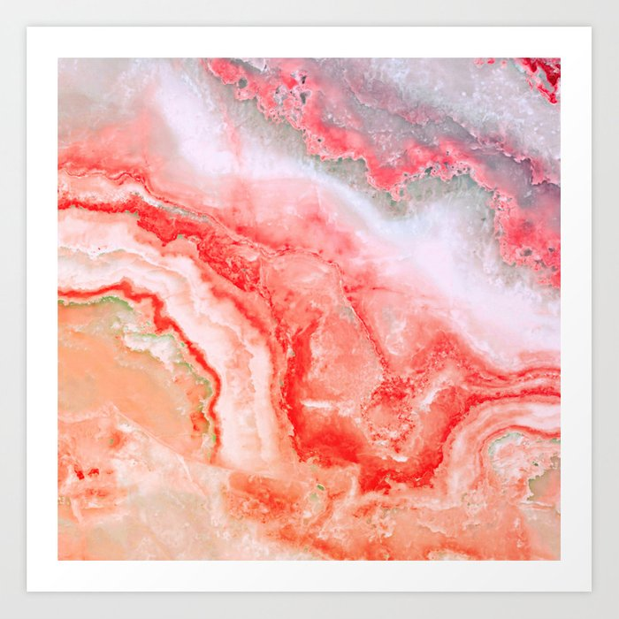 Luxury Living Coral Agate Marble Geode Gem Art Print By