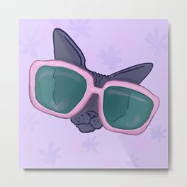 Sphynx Cat in Oversized Sunglasses - Lilac flowers - Funny Hairless Animal Illustration Metal Print