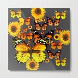 DECORATIVE  YELLOW-GOLD BUTTERFLIES & SUNFLOWERS Metal Print
