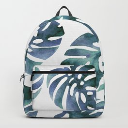 Monstera Blue Backpack