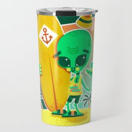 Alien Surfer Nineties Pattern Travel Mug