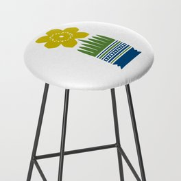 Nordic Yellow Flower Bar Stool