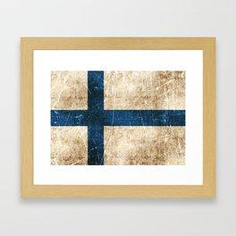 Vintage Aged and Scratched Finnish Flag Framed Art Print