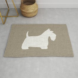 White Scottish Terrier Silhouette Rug