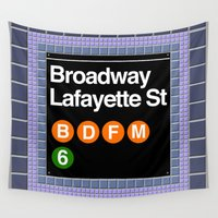 subway Wall Tapestries featuring subway broadway sign by Art Lahr