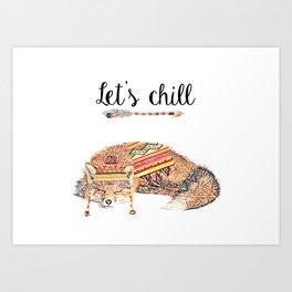 Let's chill - sleeping fox Art Print