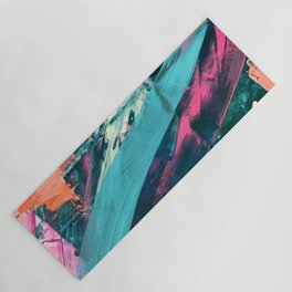Wild [7]: a bold, colorful abstract mixed-media piece in teal, orange, neon blue, pink and white Yoga Mat