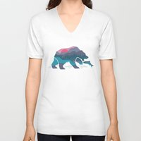 country V-neck T-shirts featuring Bear Country by Rick Crane