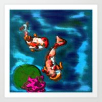 koi fish Art Prints featuring KOI FISH by aztosaha