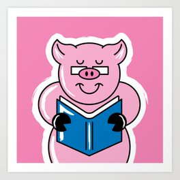 Pig Out On Books! Art Print