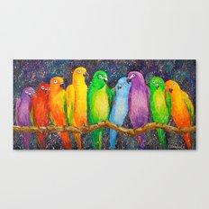 Parrots friends Canvas Print