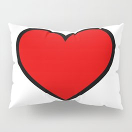 Bold Red Heart Shape Valentine Digital Illustration, Minimal Art Pillow Sham