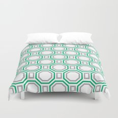 Polygonal pattern - Turquoise green and Gray Duvet Cover