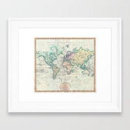 Vintage Map of The World (1801) Framed Art Print