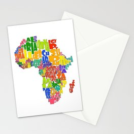 African Continent Cloud Map Stationery Cards