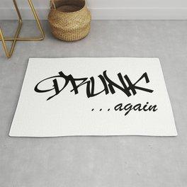 DRUNK ...again Humorous Minimal Typography Black and White Rug