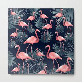 Summer Flamingo Palm Night Vibes #1 #tropical #decor #art #society6 Metal Print
