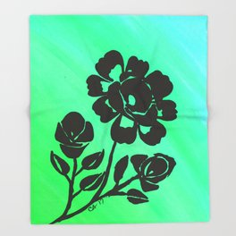 Green Silhouette Roses Varigated Background Acrylic Art Throw Blanket