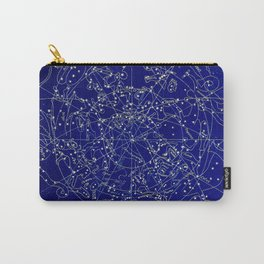 Constellation Stars blue space map on gold marble Carry-All Pouch
