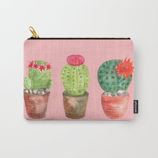 Three Cacti watercolor pink Carry-All Pouch