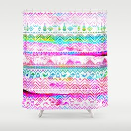 bohemian pattern in pink and turqupise soft colors Shower Curtain
