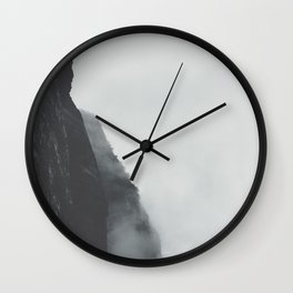 Black And White Misty Cliff Photography Mystery Foggy Landscape Wall Clock