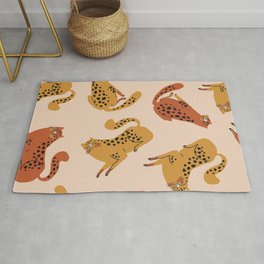 Yellow Orange Leopard Spots Sensual Chubby Butt Kitty Cats Pattern Rug