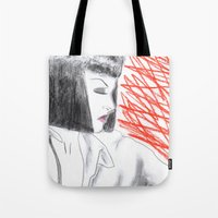 mia wallace Tote Bags featuring Mia Wallace by Natália Damião