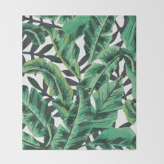 Tropical Glam Banana Leaf Print Throw Blanket