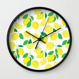 Lemons, tropical pattern Wall Clock