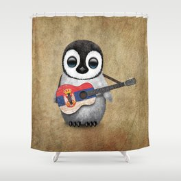Baby Penguin Playing Serbian Flag Guitar Shower Curtain