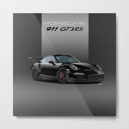 Porsche 911 GT3 RS in Black Metal Print