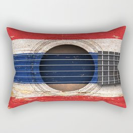 Old Vintage Acoustic Guitar with Thai Flag Rectangular Pillow