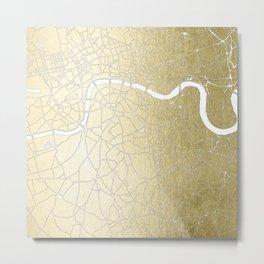Gold on White London Street Map II Metal Print
