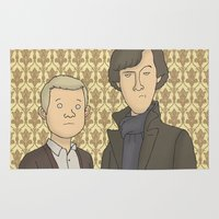 conan Area & Throw Rugs featuring Sherlock and John Watson by Carl Batterbee Illustration