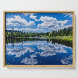 The lake Etang des Royes in the canton of Jura in Switzerland Serving Tray