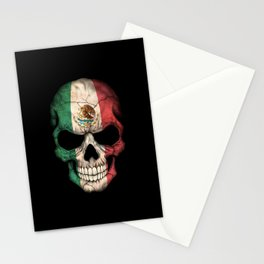 Dark Skull with Flag of Mexico Stationery Cards
