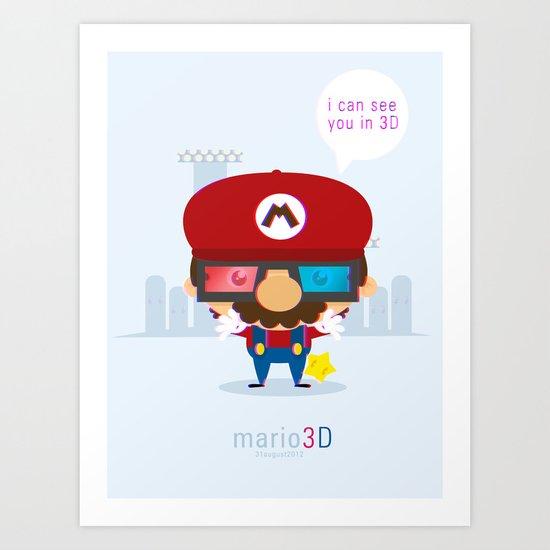mario 3d Art Print