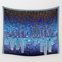 detroit Wall Tapestries featuring detroit city skyline by Bekim ART