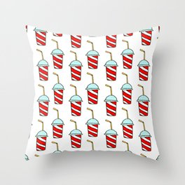 Takeaway soft drinks background with seamless pattern of red and white striped paper cups Throw Pillow