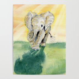 Colorful Baby Elephant Poster