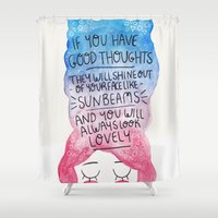 roald dahl Shower Curtains featuring Good Thoughts Watercolour by Laurel Mae
