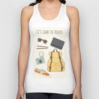 backpack Tank Tops featuring It's Time to Travel by Helga Wigandt