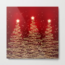 Elegant Christmas Sparkling Trees Red  Metal Print