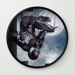 Black Spidey calling Black Cat Wall Clock