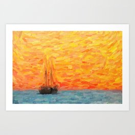 abstract Sailing Vessel in Calm Resta Art Print