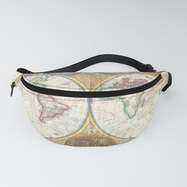 General Map of the World, Unique Vintage Map. Science, Geography, Astronomy, Astrology Fanny Pack