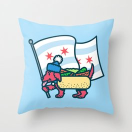 Chicago Dog with Flag Throw Pillow