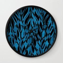 Teal Jungle Leaves Wall Clock